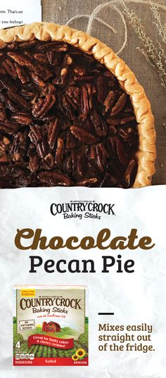 Give your pie a twist with this recipe for Chocolate Pecan Pie featuring Country Crock® Baking Sticks. Unlike butter, which can take about 45 minutes to soften, Baking Sticks mix easily right out of the refrigerator -- no softening needed. Thanksgiving Recipes, Fall Recipes, Holiday Recipes, Christmas Recipes, Christmas Ideas, Holiday Desserts, Just Desserts, Dessert Recipes, How Sweet Eats