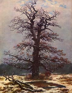 Oak tree in the snow via Caspar David Friedrich Size: 34.5x44 cm Medium: oil