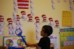 Dr. Seuss Classroom word wall | Hereis our Seuss inspired language works.