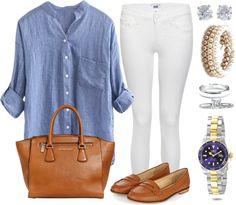 Andrea Moda y Asesoría: Blusa gris azul Pantalón Blanco FW 15-16
