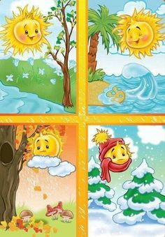 TOUCH esta imagen: Seizoenen by Wampie Weather For Kids, Preschool Weather, Four Seasons Art, Seasons Of The Year, Seasons Activities, Preschool Activities, Classroom Board, Classroom Decor, Teaching Kids