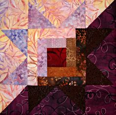 pink brown log cabin quilt block - Google Search