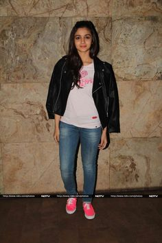 Alia Bhatt was at her casual best in a black jacket worn with a brown T-shirt and a pair of faded blue denims.