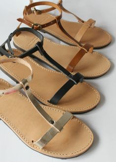 Flat sandals are a key style this season - get the look with these Greek handcrafted leather pair.  *Handmade 100% *Genuine leather *Rubber sole  ♥Do you