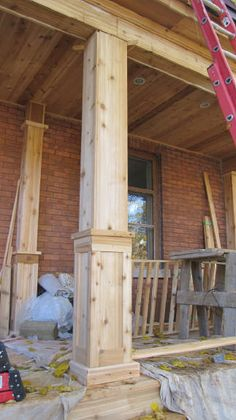 rebuilding porch columns - These would be great for the front porch. House With Porch, House Front, Building A Porch, Building Plans, Decks And Porches, Front Porches, Front Porch Columns, Front Deck, Front Porch Posts