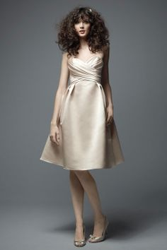 Halter satin bridesmaid dress with empire waist