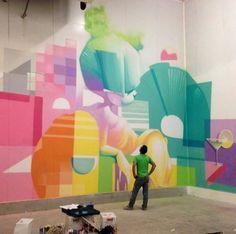 Increible combinación de colores. #Graffiti #Streetart