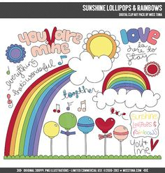 Sunshine Lollipops & Rainbows Digital Clipart Clip by MissTiina, $5.00