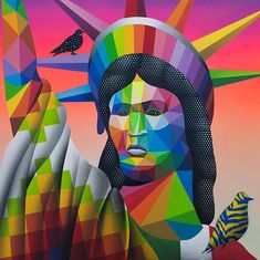 In this new age of American nationalism, Madrid-based artist Okuda San Miguel looks back at the Maya, a pre-Columbian civilization that lasted for thousands of years in Central America and southern Mexico. Spanish Painters, Spanish Artists, Graffiti Artwork, Street Art Graffiti, History Projects, Art History, Famous Street Artists, Okuda, Geometric Art