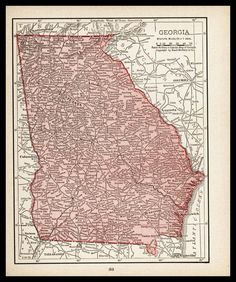 Small Georgia Map Map Art Early 1900s by ParagonVintagePrints, $10.00