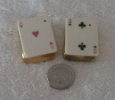 Vintage Arcadia Mini Playing Cards Salt Pepper Shakers s P   eBay