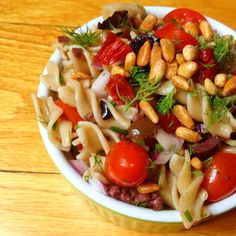 Pasta Salad with Tomatoes, Olives and Toasted Pine Nuts - The Lemon Bowl