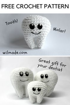 Free crochet pattern for this tooth molar on wilmade.com. Great gift for your dentist or as graduation gift for dentist students!