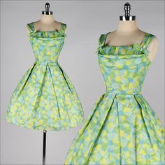 vintage 1950s dress . green yellow floral by millstreetvintage, $165.00