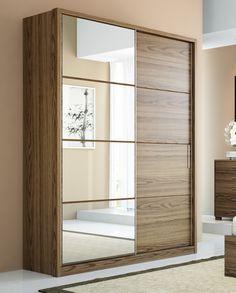 Manhattan Comfort 4 Drawer Bellevue 2 Door Wardrobe - The Bellevue wardrobe is compact and space-saving. Perfect for modern studio apartmen. Sliding Door Wardrobe Designs, 2 Door Wardrobe, Closet Designs, Bedroom Cupboard Designs, Wardrobe Design Bedroom, Bedroom Cupboards, Modern Wardrobe, Wood Bedroom, Bedroom Decor