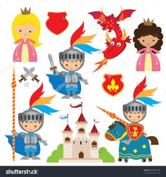 Princess, knight and dragon  vector illustration