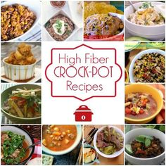 High Fiber Crock-Pot Recipes - Are you looking for recipes for your slow cooker that are delicious and high fiber? Well, we have you covered! We have over 55 easy High-Fiber Crock-Pot Recipes to help you plan your meals, desserts, snacks and more! Slow Cooker Recipes, Crockpot Recipes, Diet Recipes, Cooking Recipes, Healthy Recipes, Cooking Ideas, Cooking Fish, Cooking Games, Slow Cooking