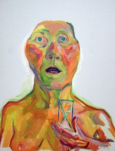 maria lassnig. saw this in person - Lenbachhaus in Munich. Powerful image. An aging woman (the artist) holding an hour glass with the look of shock on her face. Is it because of how time has passed or how little is left or both. Her work was amazing.