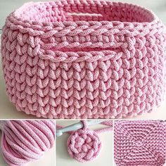 Discover thousands of images about The best of t-shirt yarn is how fast you progress. Lo mejor del trapillo es que avanzas muy rápido.Crochet Basket with T-shirt yaFree crochet pattern: chunky crochet storage tubs - Mollie Makes Crochet Bowl, Crochet Basket Pattern, Knit Basket, Crochet Patterns, Crochet Baskets, Crochet Stitches, Crochet Quilt, Diy Crochet, Crochet Crafts