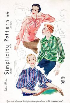 shirt top blues pink green blue strip plaid solid puff sleeves Vintage Sewing Pattern Simplicity 1676 set of blouses 3 styles art deco repro reproduction Vintage Dress Patterns, Vintage Dresses, Vintage Outfits, Vintage Blouse, Retro Fashion, Vintage Fashion, Fashion 2018, Patron Vintage, Moda Vintage