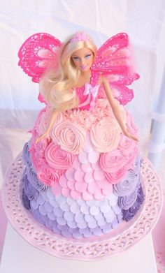 Dolly Varden cake. Pink and purple ombré cake. Rosette cake. Barbie cake