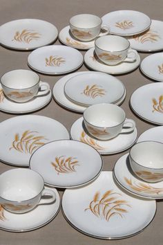 vintage Homer Laughlin golden wheat china, gold wheat sheaf pottery dinnerware set for 6