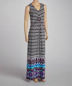 This Black & Purple Ikat Maxi Dress - Women & Plus by Nina Leonard is perfect! #zulilyfinds