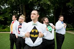 superhero tees for the groom and groomsen!