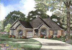 European Style House Plans - 1936 Square Foot Home , 1 Story, 3 Bedroom and 2 Bath, 2 Garage Stalls by Monster House Plans - Plan 12-1063