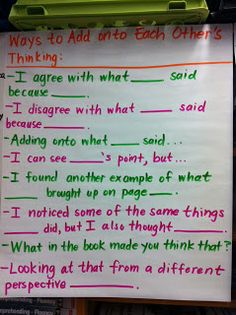 Anchor Chart: Ways to Add Onto Each Other's Thinking