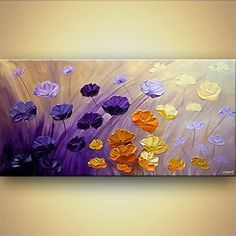 I think this is a very pretty painting idea with field of flowers in complementary colors of purple and yellow and shades of orange. Modern abstract art - The Garden. Please also visit www.JustForYouPropheticArt.com for more colorful art you might like to pin or purchase. Thanks for looking!