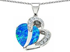 Star K Heart Shape 12mm Simulated Blue Opal Pendant. Read more description on the website.