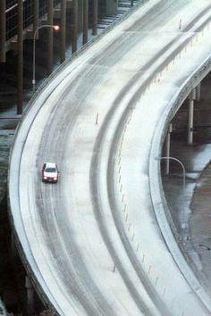Ice storm, Dec. 6, 2013. Jefferson Boulevard Viaduct. (Irwin Thompson/The Dallas Morning News)