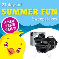 Enter to win one of 21 daily prizes. Register for DealChicken to receive emails for deeply discounted prices on the best things to see and do around town from restaurants and spas to travel and golf. There's even a Marketplace of convenient shop-at-home deals. Signup here and I get two extra sweepstakes entries.