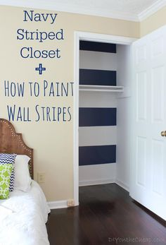 How to Paint a Striped Wall {+ Striped Closet Reveal} with the help of Kids room. Bedroom Wall, Kids Bedroom, Bedroom Decor, Home Design, Design Design, Boys Nautical Bedroom, Seaside Bedroom, Striped Walls, My New Room