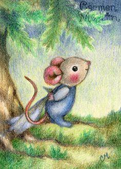 Good Morning - cute mouse art by Carmen Medlin