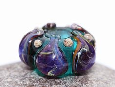 Glass handmade lampwork Large hole bead in teal green by MayaHoney, $12.00