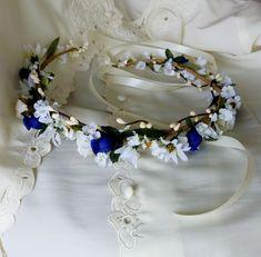 Boho Halo royal blue bridal Flower Crown hair garland Wreath White Flower  Crown 39542d5eaac