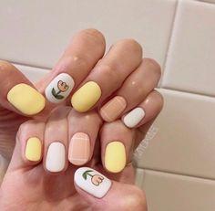 • Nail Design 튤립네일로 기분전환하기! : 네이버 블로그 Minimalist Nails, Nail Swag, Sun Nails, Hair And Nails, Subtle Nails, Gel Nagel Design, Kawaii Nails, Nail Patterns, Disney Nails