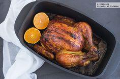 Pollo asado con cítricos y sirope de arce. Receta con fotos y sugerencias de presentación. Trucos y consejos de elaboración. Recetas de carnes y aves