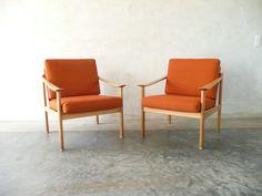 Pair of oak lounge chairs   CHASE & SORENSEN // DANISH MODERN FURNITURE & HOME DÉCOR