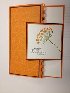 """a little bit different fold with several layers **** SU """"Summer Silhouettes"""" & """"Petite Pairs"""", Cardstock: Whisper White, Choc. Chip, Pumpkin Pie, and Polka Dot Parade DSP. Created by Wanda Pettijohn, blog """"My Creative Corner"""""""