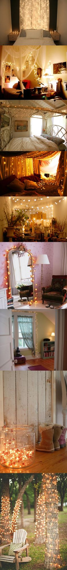 Different ways to use christmas lights in your home year round! Love it. Looks like a fairytale.