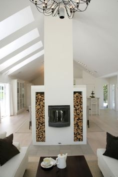 Fire place. Good room divider