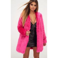 Fuchsia Faux Fur Coat ($70) ❤ liked on Polyvore featuring outerwear, coats, faux fur coat, pink fake fur coat, fuchsia coat, pink faux fur coat and imitation fur coats