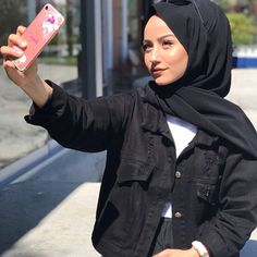 Image may contain: 1 person, phone Hijab Fashion, Women's Fashion, Fashion Outfits, Hijab Makeup, Hijab Outfit, Sporty, Phone, Closet, Image