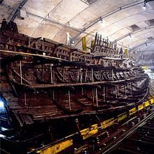 The Mary Rose in the process of preservation in Portsmouth Historic Dockyard.