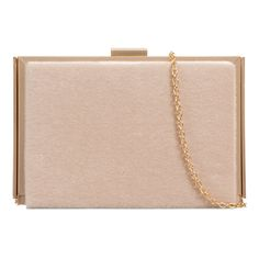 Esme Faux Fur Box Clutch In Beige found on Polyvore featuring polyvore, women's fashion, bags, handbags, clutches, purses, handbag purse, metallic box clutch, hardcase clutch and pink handbags