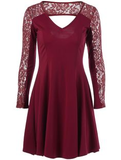 Cut Out Lace Trim Dress in Wine Red   Sammydress.com