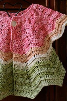 free crochet pattern chevron cardigan size 0-6 months